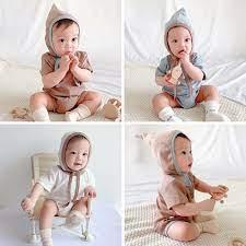 Bộ áo liền quần tay ngắn kèm mũ màu trơn thời trang mùa hè cho bé trai và  bé gái sơ sinh tại Nước ngoài