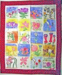 charity heirloom quilt crafted of textile blocks hand-drawn by ... & fabric marker quilts | WE SCRAP! Classroom Fabric Banners & Quilts Adamdwight.com
