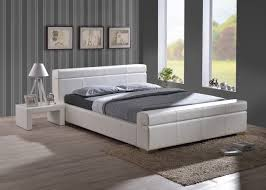 durham 5ft king white leather bed