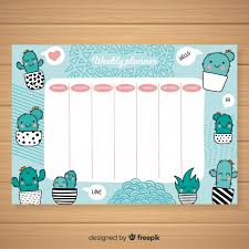 Cute Weekly Planner Template With Colorful Design Vector Free Download