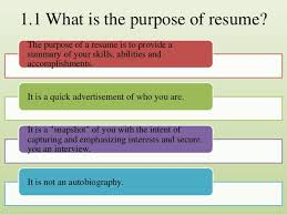 How To Prepare A Great Resume Impressive Purpose Of A Resume
