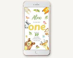 Electronic Birthday Invite Electronic Child Birthday Invitation Wild Forest Animals Toddler Baby Event Invite Bear Fox Rabbit Racoon Deer Digital Templett
