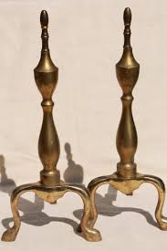 shabby cottage chic vintage fireplace andirons solid brass w rustic patina