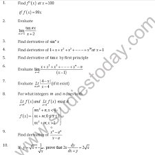 Create free printable worksheets for the order of operations (addition, subtraction, multiplication basic instructions for the worksheets. Cbse Class 11 Limits And Derivative Worksheet D