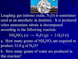 laughing gas nitrous oxide n2o is sometimes used as an anesthetic in dentistry