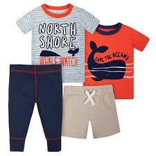Shirts With Pants 4 Piece Toddler Boys Whale Shirts Shorts Pants Set