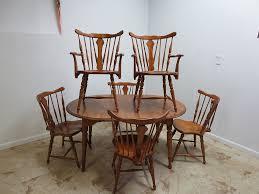 maple wood dining room table. antique cushman colonial maple dining room table \u0026 6 windsor back chairs set wood b