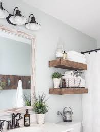 farmhouse bathroom ideas. White Farmhouse Bathroom Ideas With Superb Rustic Wood Shelves Using Weathered Framed Mirror And Vintage Wall Lamps B
