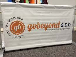 wide format steele creek printing design gobeyond banner in stand