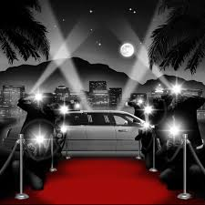 white carpet background. paparazzi black and white with red carpet background