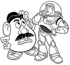 Small Picture Mr Potato Head and Buzz in Toy Story Coloring Page Download