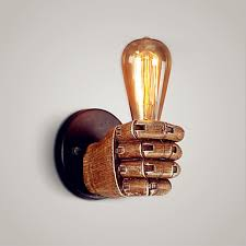 resin retro wall light fixtures creative fist led edison wall sconce appliques loft industrial wall lamp