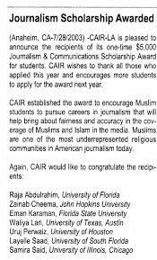 cair scholarship recipient reports on cair in la times  posted