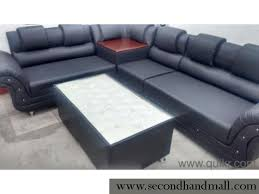 leatherette new l shape corner sofa with center table