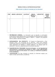 Formato Para Cotizacion De Servicios Kadil