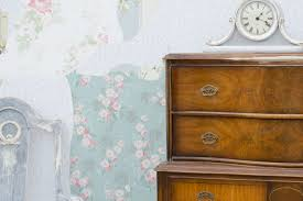 diy free standing wall with vintage wallpaper