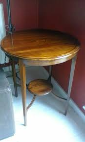 high antique vintage coffee table c 1900 round mahogany inlaid table occasional centre lamp table