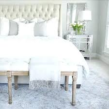 grey bedroom rug and white unique tufted linen bed mirrored nightstand off