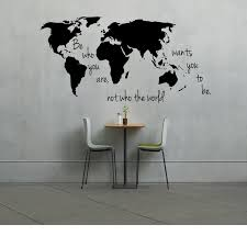 World Map Home Decor Large World Map Decal Be Who You Are Not Who The World Wants