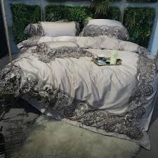 villa home vintage lace design noble excellence sophisticated elegant full queen size bedding sets in silver and gray