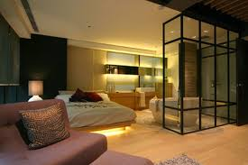 nice lighting. Simple Nice Nice Lighting And Double Bed For Contemporary Japanese Interior Design  With Wooden Floor For