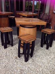 secondhand vintage and reclaimed pub tables square top oak whisky barrel table and 4 chairs