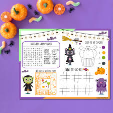 These halloween coloring pages free to print are suitable for toddlers, kindergarteners, preschoolers and even older children. 18 Free Halloween Printables Including Halloween Activity Placemat