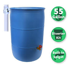 blue 55 gallon drum. Modren Drum Emsco 55 Gal Paintable Blue Plastic Drum DIY Rain Barrel Bundle With  Diverter System And On Gallon