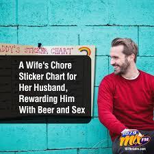 A Wifes Chore Sticker Chart For Her Husband Rewarding Him