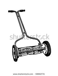 lawn mower logo clip art. manual lawn mower - retro clip art logo
