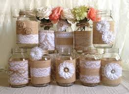 Decorative Jars And Vases 100x Rustic Burlap And White Lace Covered Mason Jar Vases Wedding 92