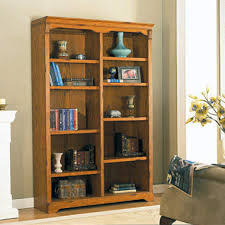 ... Whalen Furniture Oxford Hill Oak Double Bookcase Brown Wooden Bookshelf  With Some Books And Many Decoration ...