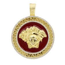 10k gold red enamel medusa head pendant versace style diamond medallion yellow image