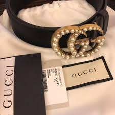 Double Belt 85 Gucci G Leather Accessories Poshmark Authentic Pearl