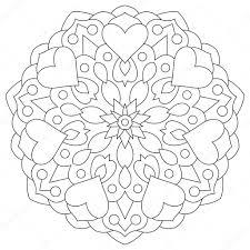 Bloemen Mandala Met Hart Kleurplaat Voor Valentines Day