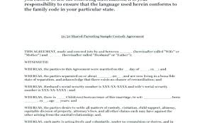Shared Parenting Agreement Template Luxury Shared Custody Agreement