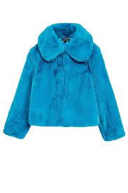 Blue Coat Blue Faux Fur Coat