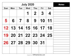 Calendar July 2020 Printable July 2020 Printable Calendar