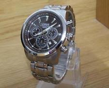 lorus watch luminous mens s steel bracelet seiko lorus fusion 100m black dial chrono watch vd53