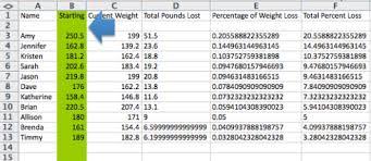 Weight Loss Percentage Spreadsheet Weight Loss Percentage Excel Rome Fontanacountryinn Com