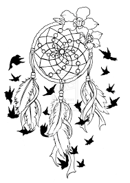 Dream Catcher Tattoo Stencils Black Flying Birds And Dreamcatcher Tattoo Design 11