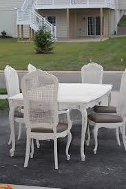 shabby chic vine 1970 s thomasville dining room table and 6 cane back chairs