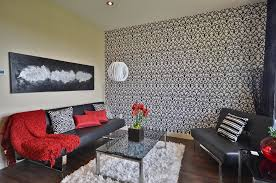edmonton charcoal sofa living room contemporary with black and white wallpaper acrylic throw blankets gray sofa
