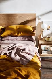 rust 100 flax linen bedding set bed