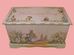 custom designed bunny rabbit toy box inspired by peter rabbit done with monogram or name kids furniture art and decor wooden toy box