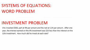 system of equation word problem investment
