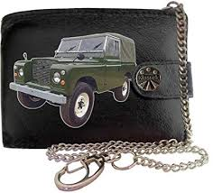 landrover series 2a image on klek brand men leather chain wallet with chain clasp car moto