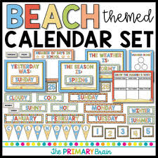 Daily Calendar Unique Beach Themed Calendar Set Including Weather Seasons Daily Math And