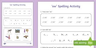 Phonics worksheets by level, preschool reading worksheets, kindergarten reading worksheets, 1st grade reading worksheets, 2nd grade reading wroksheets. Ow Words Spelling Worksheet Teaching Resource Twinkl