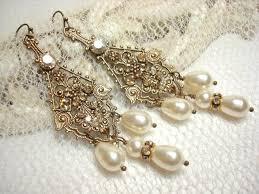 bridal vintage style earrings pearl wedding earrings chandelier earrings antique brass filigree earrings swarovski crystal earrings